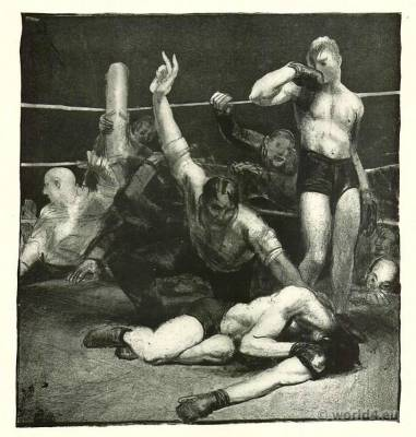 The last count. Boxing costumes. George Wesley Bellows. American Artist. Boxing Ring Boxers J. Carroll.
