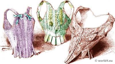 Rococo corsets, bodice fashion.18th century, Louis XV costume era.