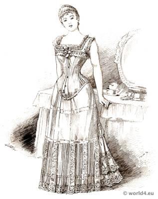 Corset bodice fashion. 19th century bodice and underwear. Victorian fashion period.