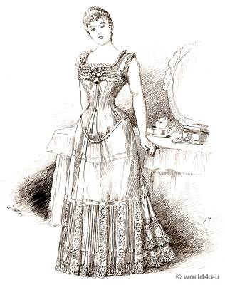Corset bodice fashion. 19th century bodice and underwear. Victorian fashion period.