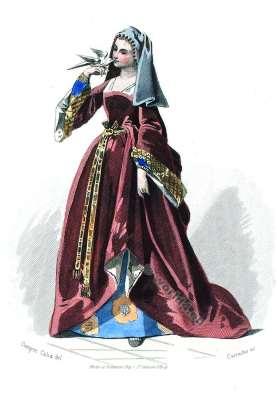 Moyen Age robe. Duchess Cour de Louis XII. Mode de 16ème siècle. Costumes actuels. Musée cosmopolite