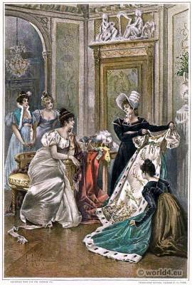 French Empire style costumes. Empress Joséphine de Beauharnais.  Regency costumes.