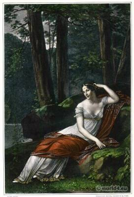 France First Empire style. England Regency costumes. Empress Josephine. Park at Malmaison