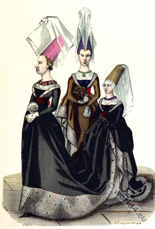 fashion history,  Mittel ages, Princess, costumes, Gothic, Burgundy,