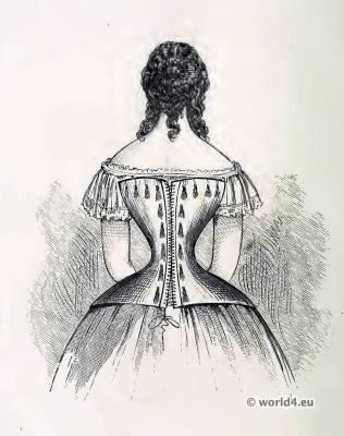 Corset of Messrs. De La Garde, Paris. Corsets and Crinoline. Victorian Fashion. Nineteenth-century Costume and Fashion