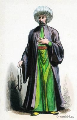 Iman costume of Turkey. Ottoman Empire clothing. Ecclesiastical dress. Kaftan Turban.