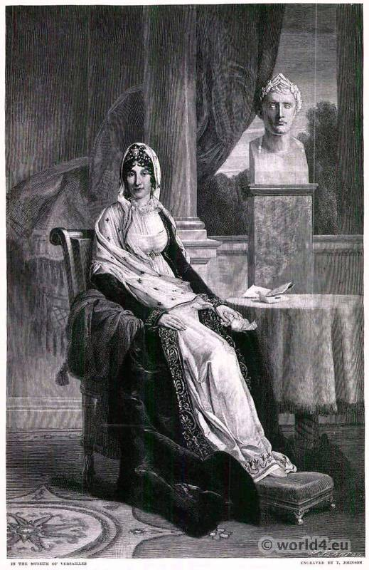 French Empire style costumes. Maria Letizia Ramolino Buonaparte. Mother of Napoleon I of France.