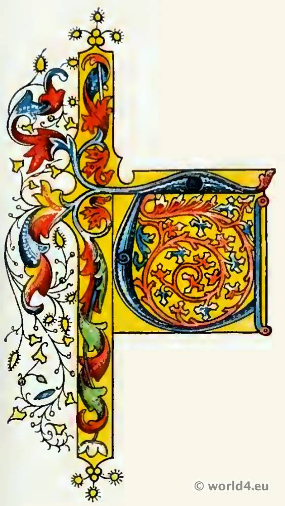 Medieval initial letter. Middle ages decoration. Medieval Book illustration.