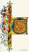 Medieval initial letter. Middle ages decoration. Medieval Book illustration.