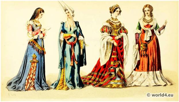 Renaissance Nobility Costumes. Reigns of Louis XI, Charles VIII, and Louis XII. 15th, 16th century fashion
