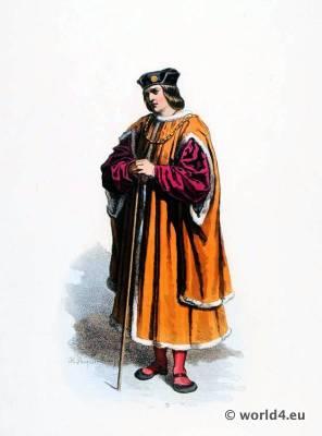 Renaissance fashion. Bourgeois costume. 16th century costumes.