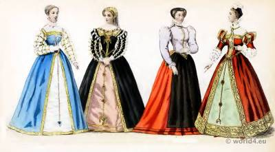 Renaissance Fashion History. Reign Henri III. 16th century costumes. Nobility court dress.