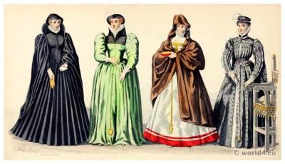 Renaissance fashion. Henri II. 16th century costumes. Nobility court dress.