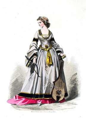 Costume Renaissance. Cour de François Ier. Mode de 16ème siècle.