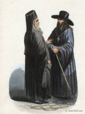 Russian priest and monk costumes. Traditional Russia national costume. Russian Folk clothing. Ethnic garment.