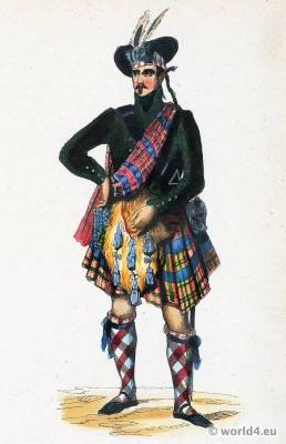 Chief of the Scottish Highlands costume. Traditional Scottish national costumes. Scottish Folk clothing. Ethnic garment.