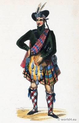Chief of the Scottish Highlands costume. Traditional Scottish national costume. Scottish Folk clothing. Ethnic dress.