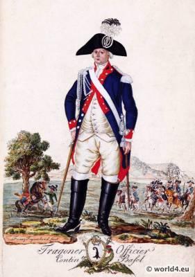 Switzerland military uniform. Dragoon officer Contingent Canton Basel.  18th century Swiss army uniforms.