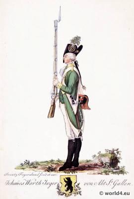 Switzerland military uniform. Shooter Department of St. Gallen.  18th century Swiss army uniforms.