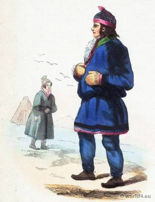Laplanders Inhabitants costumes. Traditional Lapland national costume. Sami Folk clothing. Ethnic garment Lapps..