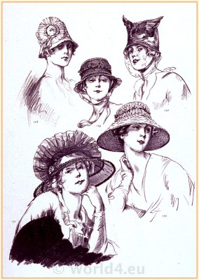 Art Deco Paris Hat Fashion. Belle Époque Costumes. Couturier Marie Louise. Modèls du Style Parisian