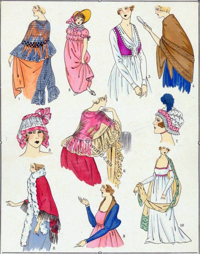 French, Revolution, Bonnet, Fichu, Spencer, Mantelet, Toquet, Châle, modes,