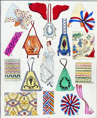 French Revolution costumes. Embroidery. Merveilleuses. Neoclassicism. Neoclassical fashion.