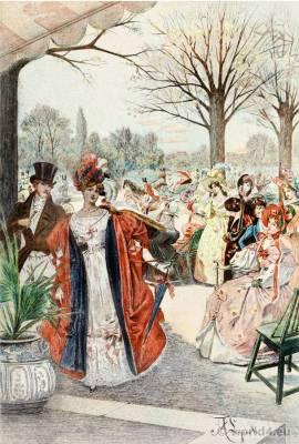 Romantic fashion costumes. French Restoration period