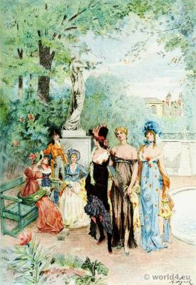 French revolution costume. Nymphs and merveilleuses costumes. French 18th century fashion. Octave Uzanne. Albert Lynch