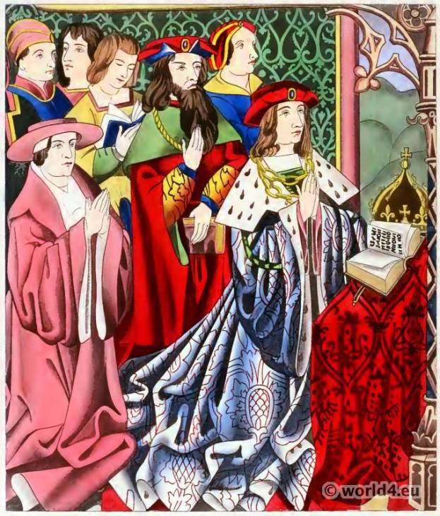 King Henry VI. 15th century costumes. England court dress. Medieval burgundy fashion