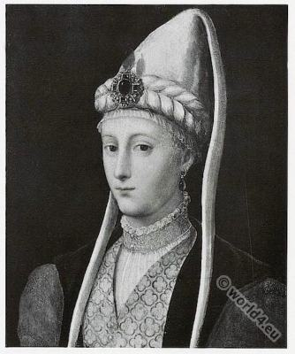 Charles IX . Lady in renaissance fashion. 16th century costume. Francesco Primaticcio.