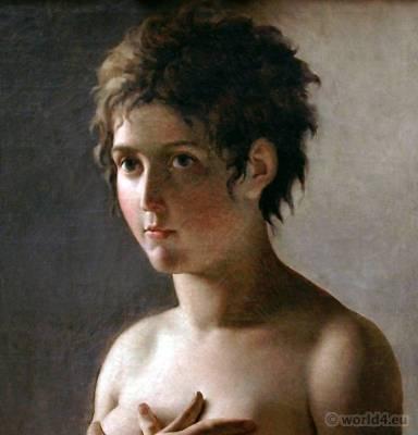 Merveilleuse Hair à la titus. French Revolution hairstyle. Hair à la titus. Directory fashion. Jeune Fille en Buste