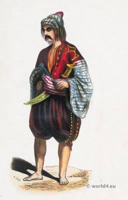 Bulgarian folk costume. Traditional Bulgarian national costumes. Bulgaria Ethnic garment.