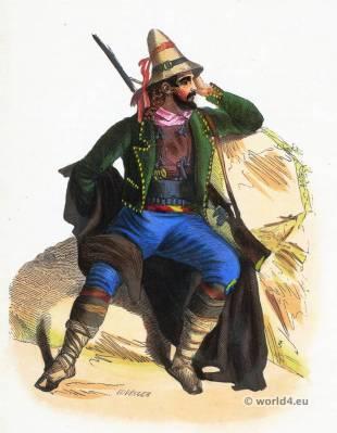 Calabrian folk costume. Traditional Italy national costumes. Italian Ethnic garment.