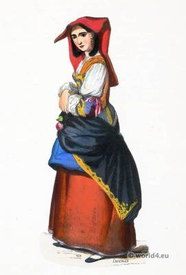 Salerno folk costume. Traditional Italy national costumes. Italian Ethnic garment.