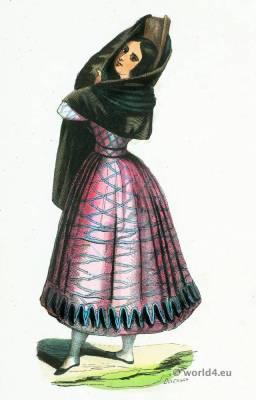 Manola folk costume. Traditional Spain national costumes. Spanish Ethnic garment.