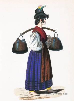 Venice folk costume. Traditional Italy national costumes. Italian Ethnic garment.