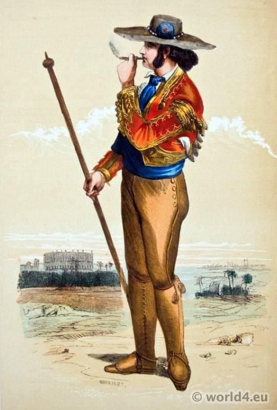 Spanish Picador costume. Traditional Spain National Costumes. Espagnol bullfighting Ethnic garment.