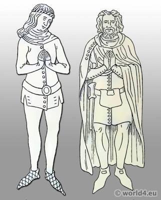 Gambeson, Lendener, Heuke. Medieval cloak. German Middle ages costume.