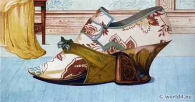 Shoes 17th century baroque fashion. Vintage High Heels. Boho style.
