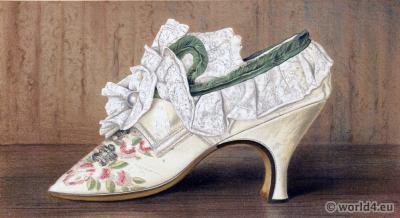 Shoes 17th century. Baroque fashion.