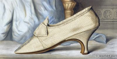 Shoes 18th century rococo fashion. Vintage High Heels. Boho style.