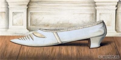 18th century rococo style shoe. Vintage High Heels. Boho style.
