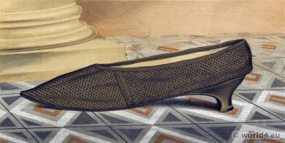 17th century shoe baroque period. Vintage Boho style.