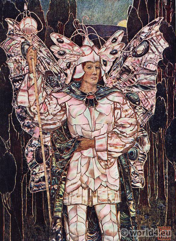 Art nouveau butterfly dress. Artist, Etcher, Frederick Marriot. Design Master. Fantasy costume.