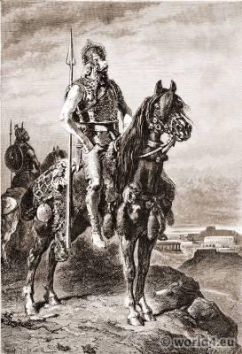 Gaul Warriors costume. Gaul celtic armor. Alphonse De Neuville.