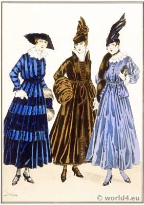 Robes Tissus de Rodier. Style Parisien. Art deco fashion. Gibson girls costumes