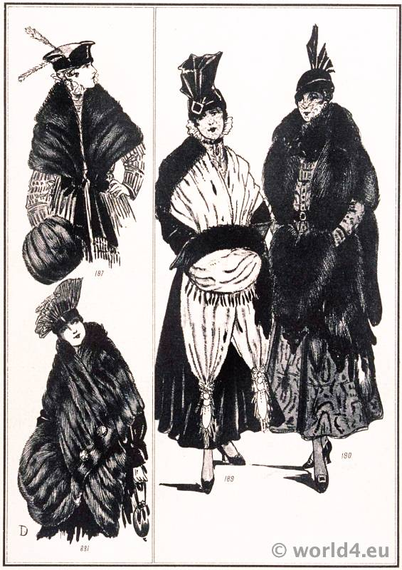 Fur stoles. Révillon Frères. Le style parisien. Art deco fashion magazine. French parisiennes collection haute couture