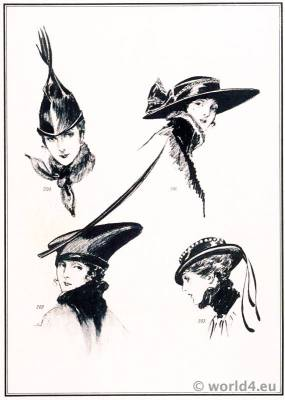 Art deco hat fashion by Suzanne Talbot. Le style parisien. Art deco fashion magazine. French parisiennes collection haute couture