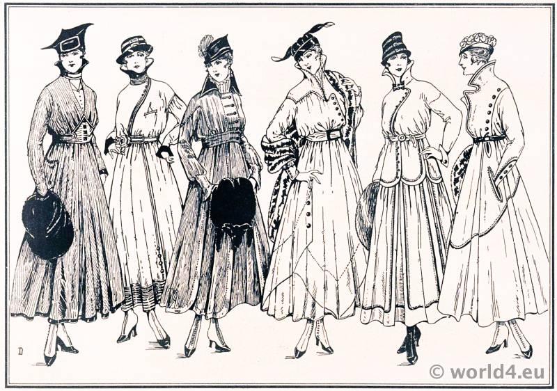Petty Dresses Tailor Style. Le style parisien. Art deco fashion magazine. French parisiennes collection haute couture